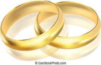 vetorial, anéis, ilustração, ouro