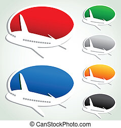 vetorial, anúncio, bolhas, com, avião
