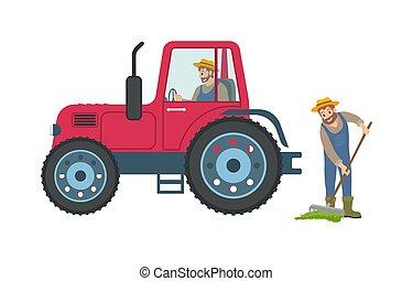 vetorial, ancinho, trator, ilustração, agricultor