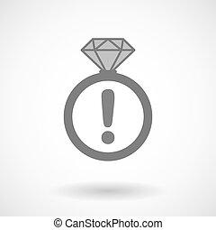 vetorial, anel, ícone, com, um, admiração, sinal