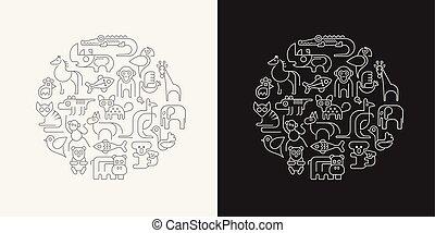 vetorial, animais, esboço, ilustração