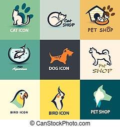 vetorial, animais estimação, cobrança, ícones