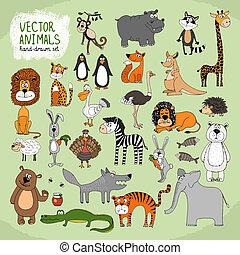 vetorial, animais, hand-drawn, cobrança, selvagem