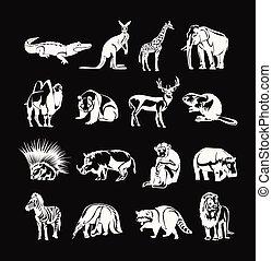 vetorial, animais
