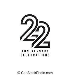 vetorial, aniversário, 22, anos, ilustração, celebração, modelo, desenho