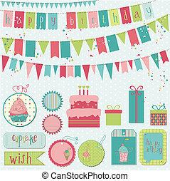vetorial, -, aniversário, desenho, retro, scrapbook, convite, elementos, celebração