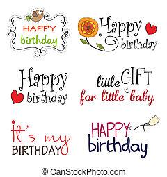 vetorial, aniversário, feliz