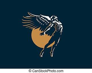 vetorial, anjo, man., emblem.