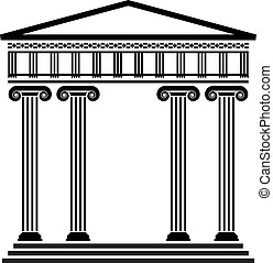 vetorial, antiga, arquitetura grega