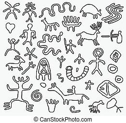 vetorial, antiga, petroglyphs