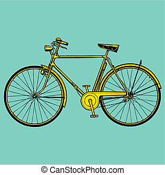 vetorial, antigas, clássicas, ilustração, bicicleta