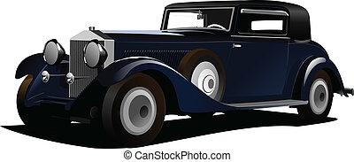 vetorial, antigas, illustrati, carro., sedan.
