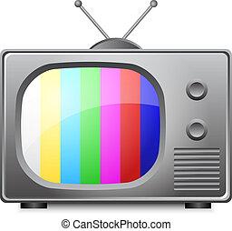 vetorial, antigas, ilustração, televisi