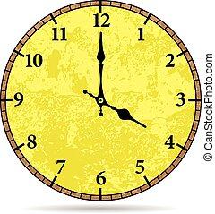 vetorial, antigas, rosto relógio
