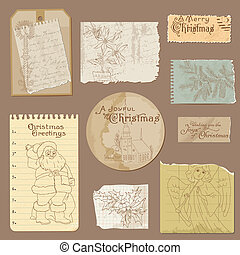 vetorial, antigas, vindima, papel, desenho, jogo, natal, elementos