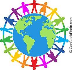 vetorial, ao redor, mundo, ilustração, pessoas, coloridos