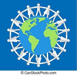 vetorial, ao redor, mundo, ilustração, pessoas