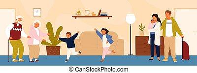 vetorial, apartamento, abraço, granddad., grandchildren, família, visitando, neto, neta, grandparents., caricatura, seu, executando, avó., vovó, illustration., avô, reunião, alegre, feliz