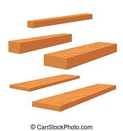 vetorial, apartamento, barras, jogo, log, madeira, madeira, timber., ilustração, pilha, construção, pilha, viga, pranchas, pranchas