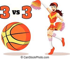 vetorial, apartamento, basquetebol, ilustração
