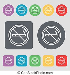vetorial, apartamento, buttons., colorido, ícone, não, sinal., jogo, fumar, 12, design.