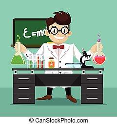 vetorial, apartamento, cientista, ilustração