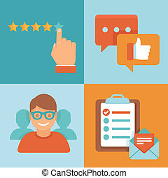 vetorial, apartamento, cliente, experiência, conceitos