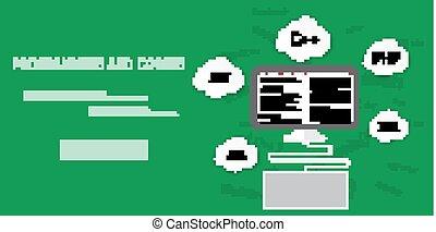 vetorial, apartamento, conceito, codificação, programação