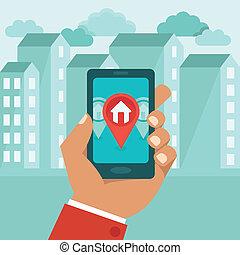 vetorial, apartamento, conceito, -, gps, app