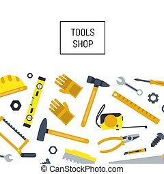vetorial, apartamento, construção, ferramentas, fundo