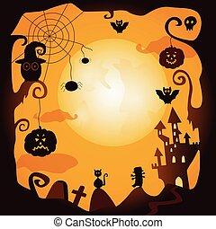 vetorial, apartamento, dia das bruxas, símbolos, cartaz