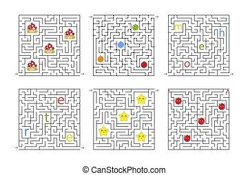 vetorial, apartamento, entradas, jogo, mazes., experiência., labirinto, quebra-cabeça, conundrum., isolado, ilustração, um, characters., jogo, quadrado, children., branca, exit., caricatura, kids.