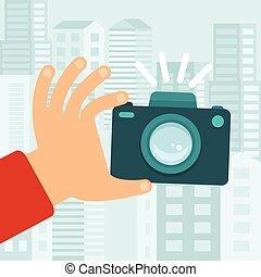 vetorial, apartamento, estilo, câmera