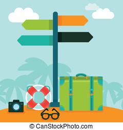 vetorial, apartamento, estilo, conceito, viajar