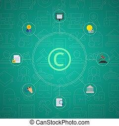 vetorial, apartamento, estilo, direitos autorais, elementos, infographic, ligado, gradiente, fundo, com, linear, direitos autorais, ícones