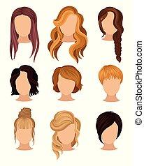 vetorial, apartamento, haircuts., jogo, cabeças, cartaz, salão, longo, shortinho, s, hairstyles., vário, trendy, mulheres, elementos, hairdressing