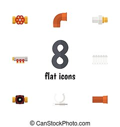 vetorial, apartamento, indústria, elements., torneira, indústria, inclui, também, jogo, encanamento, canalização, objects., suporte, outro, ícone