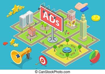 vetorial, apartamento, isometric, ao ar livre, billboards., conceito, anúncio, anunciando