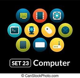 vetorial, apartamento, jogo, ícones, 23, -, cobrança, computador