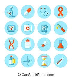 vetorial, apartamento, médico, jogo, icons.