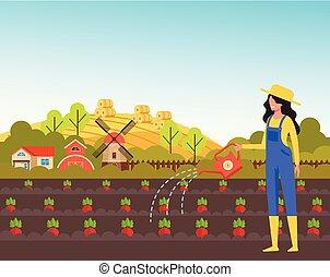vetorial, apartamento, mulher, concept., aguando, personagem, ilustração, plant., projeto gráfico, agricultor, agricultura, agricultura, caricatura