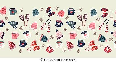 vetorial, apartamento, natal, drink., luvas, pattern., estação, inverno, desenhado, roupas, morno, mão, escandinavo, ilustração, repetindo, assalta, feriado, borda, doodle, estilo, chapéus, seamless, biscoitos, quentes