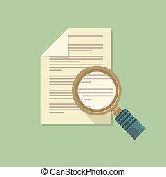 vetorial, apartamento, papel, documento, magnifier