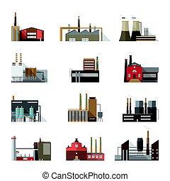 vetorial, apartamento, planta, industrial, edifícios., coloridos, fabricantes, fábrica, cobrança, chimneys., jogo, ilustração, fumar, style.