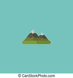 vetorial, apartamento, symbols., montanhas, ser, monte, isolado, ilustração, experiência., usado, lata, limpo, montanha, ícone, colina, element., colina