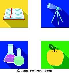 vetorial, apartamento, telescópio, jogo, bookmark, ícones, apple., símbolo, web., estilo, cobrança, frascos, livro, ilustração, reagents, escolas, educação, abertos, vermelho, estoque