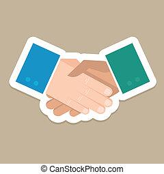vetorial, aperto mão, conceito, -, negócio