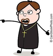 vetorial, apontar, -, ilustração, shouting, padre, religiosas, caricatura