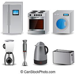 vetorial, appliances., lar, jogo, ilustração