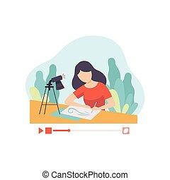 vetorial, aproximadamente, conceito, postando, dela, blogger, social, aquilo, mídia, jovem, conteúdo, mulher, ilustração, quadro, online, passatempo, menina, desenho, canal, criando